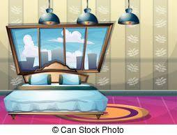 vector illustration of cartoon bedroom apartment livingroom