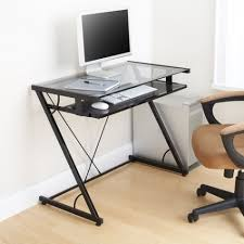 Captivating Small Glass Top Computer Desk Rolling With Regard To