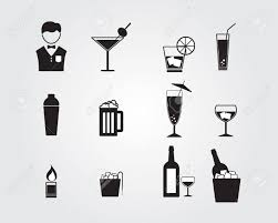 martini shaker silhouette bartender and alcohol drinking icons set vector illustration