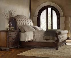 Traditional Bedding Bedroom Brown Transitional Varnished Solid Wood Panel Bed Grey