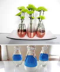 spray paint glass vases copper dipped vases collection ideas