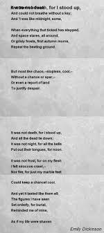 emily dickinson biography death it was not death for i stood up poem by emily dickinson poem hunter