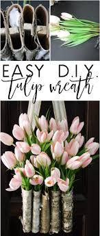 tulip wreath diy easy tulip wreath with birch vase in 10 minutes designed