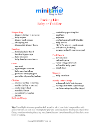 what to pack for a baby or toddler free printable packing lists