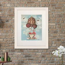 flamingos in teacup alice in wonderland print by fabfunky home