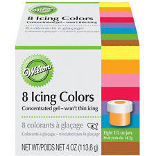 wilton set of 8 icing colors for cake decorating fondant and
