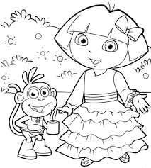 coloring pages fancy dora explorer thanksgiving coloring