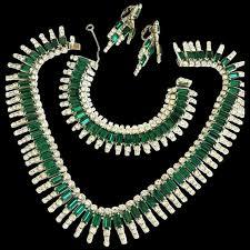 rhinestone necklace earrings images Magnificent kramer emerald green rhinestone necklace bracelet jpg