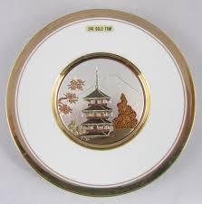 House Plate Art Of Chokin Plate Metal Engraved 24k Gold Japan Japanese House