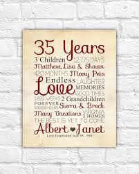 35 year wedding anniversary 35th anniversary gift for parents gift 35 years family