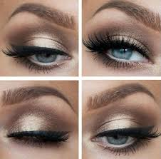 beautiful long lashes and gold brown eyeshadow on blue eyes is perfect get amazing