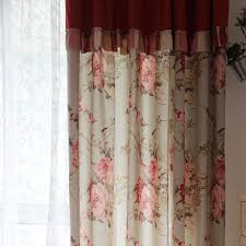 floral green linen cotton shabby chic curtains