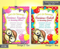 curious george birthday curious george personalized birthday invitations curious