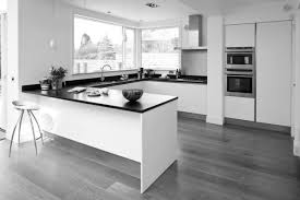 Black And White Laminate Floor L Shaped Kitchen Designs By White Wooden Kitchen Cabinet With