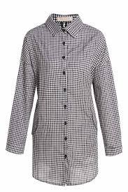 preppy style plaid polo collar long sleeve shirt dress for women