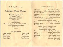 Funeral Ceremony Program Oather Ross Roper Funeral Program U2013 Family Preserves