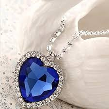 titanic blue heart necklace images Sapphire blue heart of the ocean titanic necklace pendant with jpg