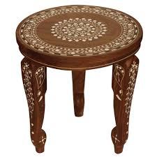 wholesale 14 u201d handmade inlay art wooden table in brown color with