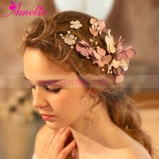 hair accessories wedding 2017 handmade korea fabric flower with freshwater pearl gold color