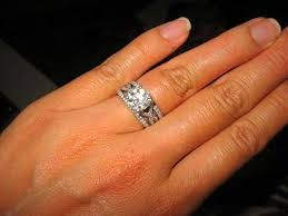 wedding ring with two bands show me your e ring flanked with two wedding bands pricescope forum