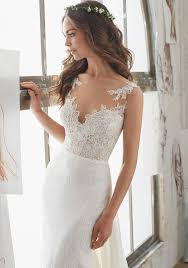 wedding dress necklines illusion neckline wedding dress trumpet bridalblissonline