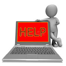 Laptop Help Desk Help On Laptop Shows Helping Customer Service Helpdesk Or Suppor