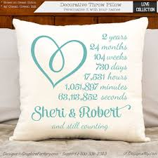2nd anniversary gifts for 2nd anniversary cotton gift personalized pillow gift for