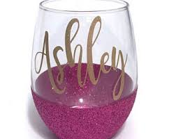 wine glass with initials glitter wine glass etsy