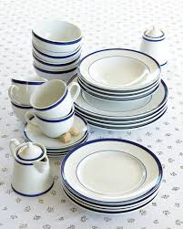 brasserie blue banded porcelain dinnerware collection williams