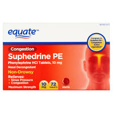 mg equate suphedrine pe maximum strength tablets 10 mg 72 count