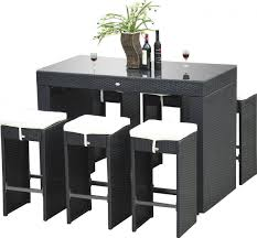 outsunny 7 piece rattan wicker bar stool dining table set patio