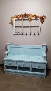 distressed aqua hall bench seat with drawers tabula rasa