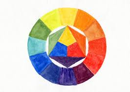 handmade color wheel watercolor handdrawn stock illustration