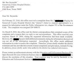 Complaints Letter To Hospital open records complaint against of glen