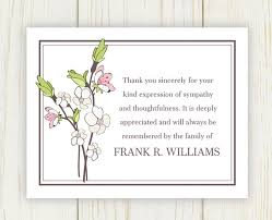 thank you cards for funeral cherry blooms funeral thank you card digital file sympathy
