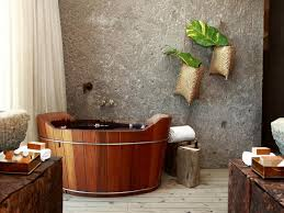 wonderful and relaxing bathrooms embrace nature with all its unique nature bathroom design with wooden bathtub plus solid concerete wall including white curtain and