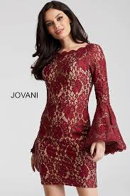 burgundy lace over lining high neck long sleeve cocktail dress