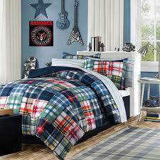 Plaid Bed Sets Modern Bedding Boys Comforter Set Blue Green