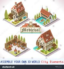 antique isometric medieval building farm house stock vector