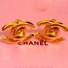 s clip on earrings chanel vintage chanel turnlock cc logo gold clip earrings from