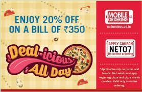 food coupons domino food offers flat 20 on rs 350 above apr 2018 freeclues