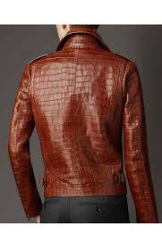 mens textile motorcycle jacket alligator leather jacket mens brown jacket for biker