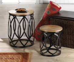 round wood and metal end table round wood and metal coffee table for living room