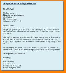 financial aid appeal letter sample financial aid officer cover