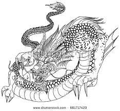 tattoo design chinese dragon lotus sakura stock vector 668632246