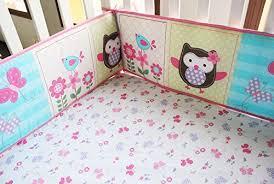 Baby Bedding Set Pink Owl Bird 7pcs Crib Set Baby Bedding Set Crib Bedding Set