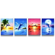dolphin home decor framed beach seascape dolphins modern wall art print canvas