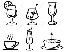 cocktail clipart black and white set of cocktail and food symbols for design royalty free cliparts