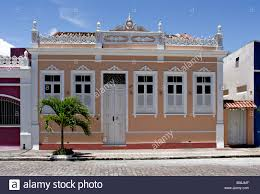house facades in canavieiras bahia brazil south america stock