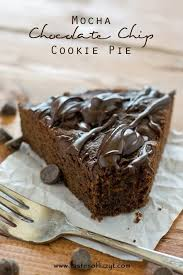 chocolate chip cookie pie with a deep chocolate mocha flavor